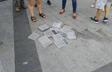 Imagen de las placas de simbología franquista retiradas a Tarragona.