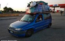 Eel vehículo denunciado por exceso de peso en Amposta este 4 de agosto.
