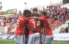 José Naranjo, ara a les files canàries, celebra un gol que va servir per derrotar al Tenerife el 31 de gener del 2016.