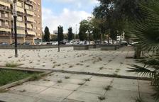 Las hierbas crecen en la plaza principal de Torres Jordi