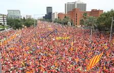 Manifestació multitudinària a la Diagonal per reclamar la República i la llibertat dels presos