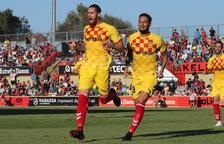 Raúl Albentosa celebra el gol que va anotar a l'Estadi Municipal de Reus durant el derbi contra l'equip veí que va acabar 1-1.