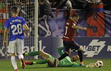 Pol Freixanet durant l'Osasuna-Reus corresponent a la segona ronda de la Copa del Rei.