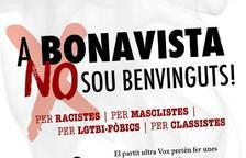 Imatge del cartell de la concentració de rebuig contra l'acte de Vox a Bonavista.