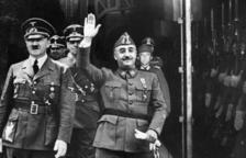 Foto difosa per EFE el 1940 de l'entrevista de Franco y Hitler a Hendaya. La imatge dels dictadors va ser superposada.