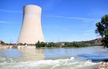 Vista general del tramo del Ebro y la nuclear de Ascó.