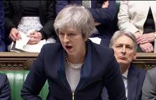 La primera ministra britànica, Theresa May, durant el seu discurs a la Cambra dels Comuns.