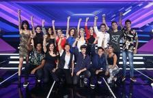 Imatge dels setze concursants d''Operación Triunfo 2018', la darrera edició del programa.