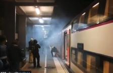Alarma pel fum provocat per la frenada d'un tren a Segur de Calafell
