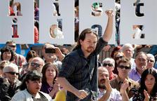 El líder de Podemos, Pablo Iglesias, en un acte electoral a Navarra.