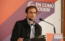 El candidato de los comunes, Jaume Asens, durante el acto de campaña en Tarragona.
