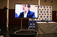 El cabeza de lista de JxCat, Jordi Sànchez, en videoconferencia desde la prisión de Soto del Real por la rueda de prensa en la Agencia EFE.