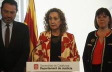 Imagen de la consellera de JustÍcia, Ester Capella, en el Col·legi d'Agents de la Propietat Immobiliària de Barcelona para tratar aspectos relacionados con la nueva regulación de los arrendamientos urbanos que prepara el Govern.