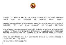 El CF Montblanc denuncia insults racistes en un partit de cadets