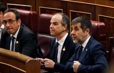 Rull, Turull y Sànchez, en los escaños del Congreso en la sesión constitutiva de la cámara.