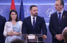 El líder de Vox, Santiago Abascal, en roda de premsa al Congrés dels Diputats.
