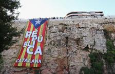 Pengen al Balcó del Mediterrani l'estelada gegant que va sortir a la Patum