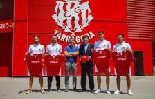 Giner, Goldar, Sergi Parés, Josep Maria Andreu, Albarrán y Petcoff en la presentación de los fichajes.