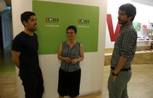 Els co-cordinadors nacionals d'ICV, David Cid i Marta Ribas, i el portaveu Ernest Urtasun conversen a la seu d'ICV.