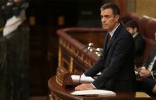El líder del PSOE y candidato a volver a ser investido presidente del gobierno español, Pedro Sánchez, en el Congreso durante el debate.