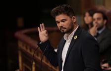 El portaveu d'ERC al Congrés, Gabriel Rufián, durant la seva intervenció al debat d'investidura.