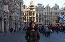 Anna en la Grand Place, la plaza más famosa de Bruselas.