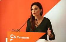 La líder de Cs en Cataluña, Lorena Roldán, en rueda de prensa desde Tarragona