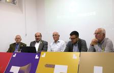 Los representantes de la entidad Provegueria Penedès, durante la rueda de prensa en Vilafranca del Penedès, donde han presentado el congreso que preparan para el mes de febrero.