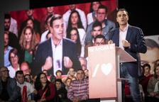 El líder del PSOE, Pedro Sánchez, en un míting a Badajoz.