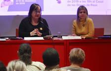 Montserrat Flores i Noemí Llauradó ahir al Casal de les Dones