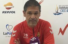 Toni Seligrat durante la prevía del partido contra el Villareal B.