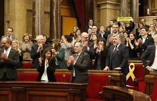 Els diputats de JxCat, ERC i la CUP celebren la decisió del TJUE sobre Junqueras