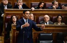 El president del govern espanyol en funcions i candidat a la investidura, Pedro Sánchez, intervenint des del seu escó