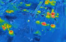 Las imágenes de la cámara térmica muestran los puntos calientes de la zona afectada por la explosión