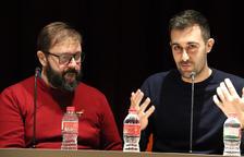 El director Marc Rosich i el músic Joan Magrané durant la presentació de l'òpera 'Diàlegs de Tirant e Carmesina'