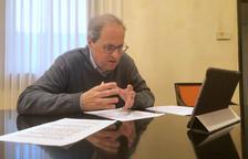 Plano medio del presidente del Govern, Quim Torra, en la reunión telemática con los grupos parlamentarios para analizar la evolución del coronavirus en Cataluña.