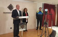 L'alcalde, Carles Pellicer, durant la roda de premsa