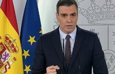 Pedro Sánchez durant la roda de premsa d'aquest dissabte