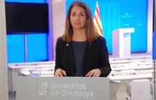 La consellera de la Presidencia, Meritxell Budó, haciendo una rueda de prensa