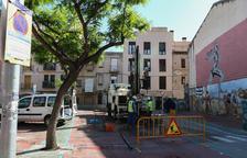 Los trabajos iniciados estos días en el actual espacio de aparcamiento de la Riera Miró.