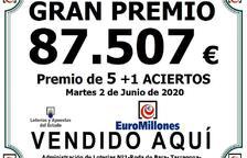El Euromillones deja en Roda de Berà 87.507 euros