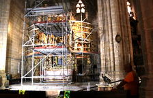 Reconstrueixen el Retaule de Santa Anna a la Catedral de Tortosa un cop restaurat