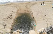 Usuarios de la playa del Miracle se quejan de la presencia de agua sucia