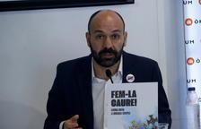 El vicepresidente de Òmnium, Marcel Mauri, durante la rueda de prensa de presentación de la nueva campaña.