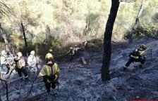 Bomber treballant en les tasques d'extinció d'un incendi que s'ha declarat al terme municipal de Vinebre (Ribera d'Ebre)