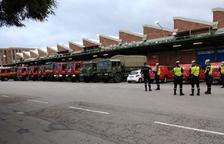 L'exèrcit espanyol desinfecta les instal·lacions de Mercabarna