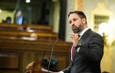 Santiago Abascal (Vox) intervenint durant el debat de la moció de censura.