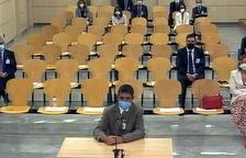 El mayor de los Mossos d'Esquadra, Josep Lluís Trapero, durante el último turno de palabra al juicio de la Audiencia Nacional.