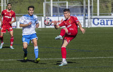 Javi Bonilla, durante un momento del Prat-Nàstic disputado este domingo (1-1).
