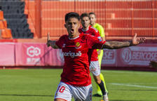 Brugui celebra un gol anotado contra el Andorra.